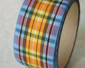 Vintage Plaid Fabric Ribbon Roll Blue Yellow Green 4 Yards