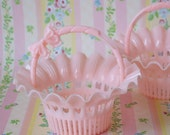 Vintage Hard Plastic Pink Basket Party Favor Nut Cups