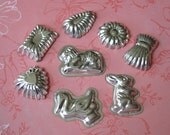 8 Vintage Tin Chocolate or Soap Molds Animals and Shapes