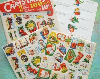 Vintage 100 Pc Christmas Seals and Gift Tags in Original Envelope 1940s
