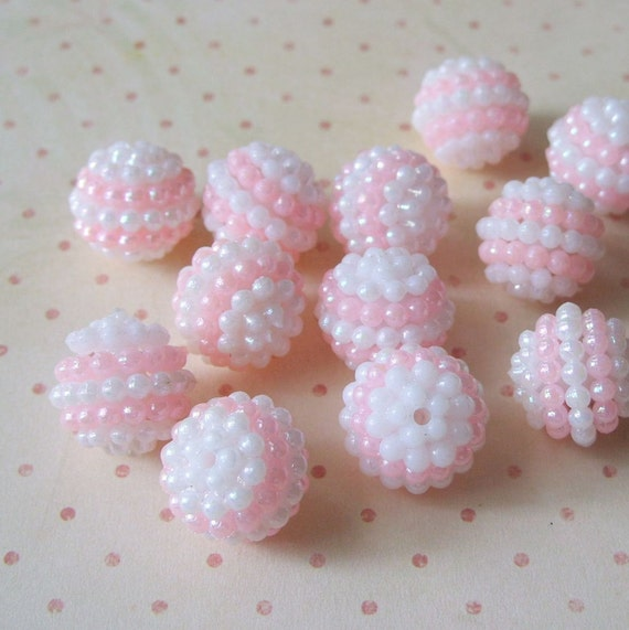Vintage Pink and White Plastic Berry Beads 24 Pc