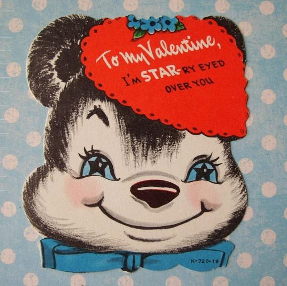 Vintage Starry Eyed Panda Bear Valentine Card