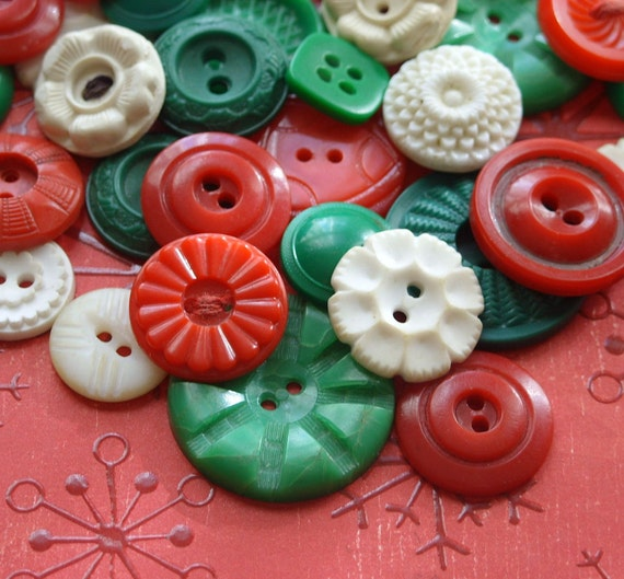 Sweet Christmas Candy Vintage Plastic Buttons