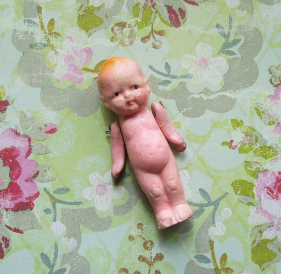 Vintage Baby Penny Doll Frozen Charlotte Posable Arms Japan