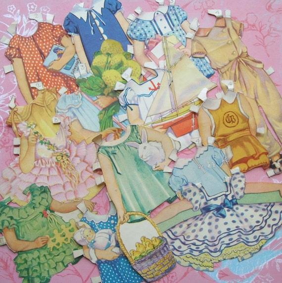 Early Vintage Paper Doll Clothes for Scrapbooking or Crafts
