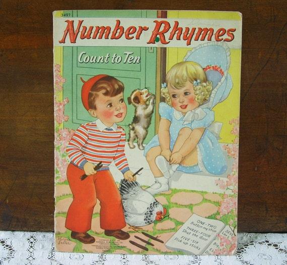 Vintage 1941 Number Rhymes Linenette Childrens Book Merrill Publishing