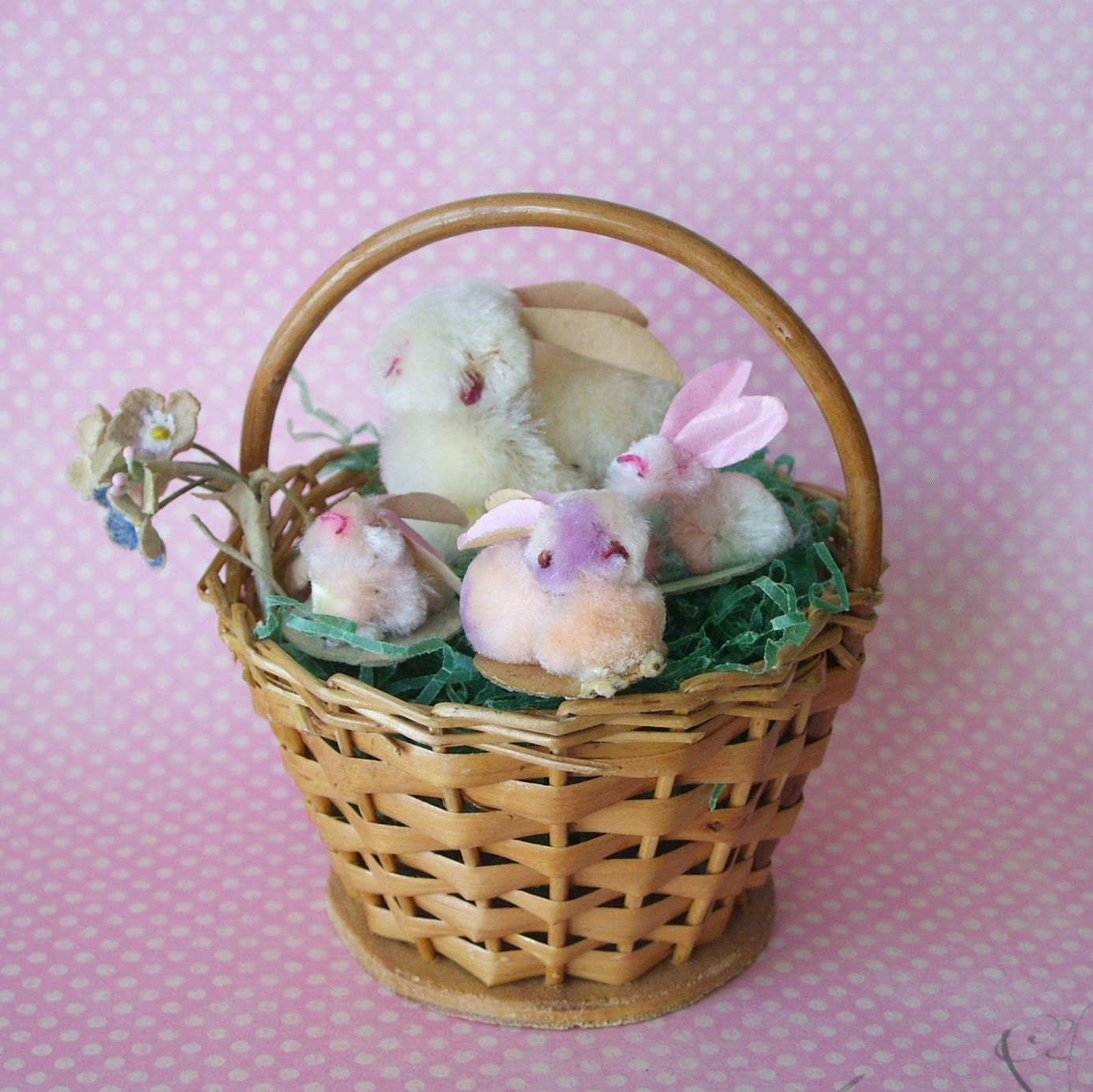 Basket full of Vintage Chenille Easter Bunnies