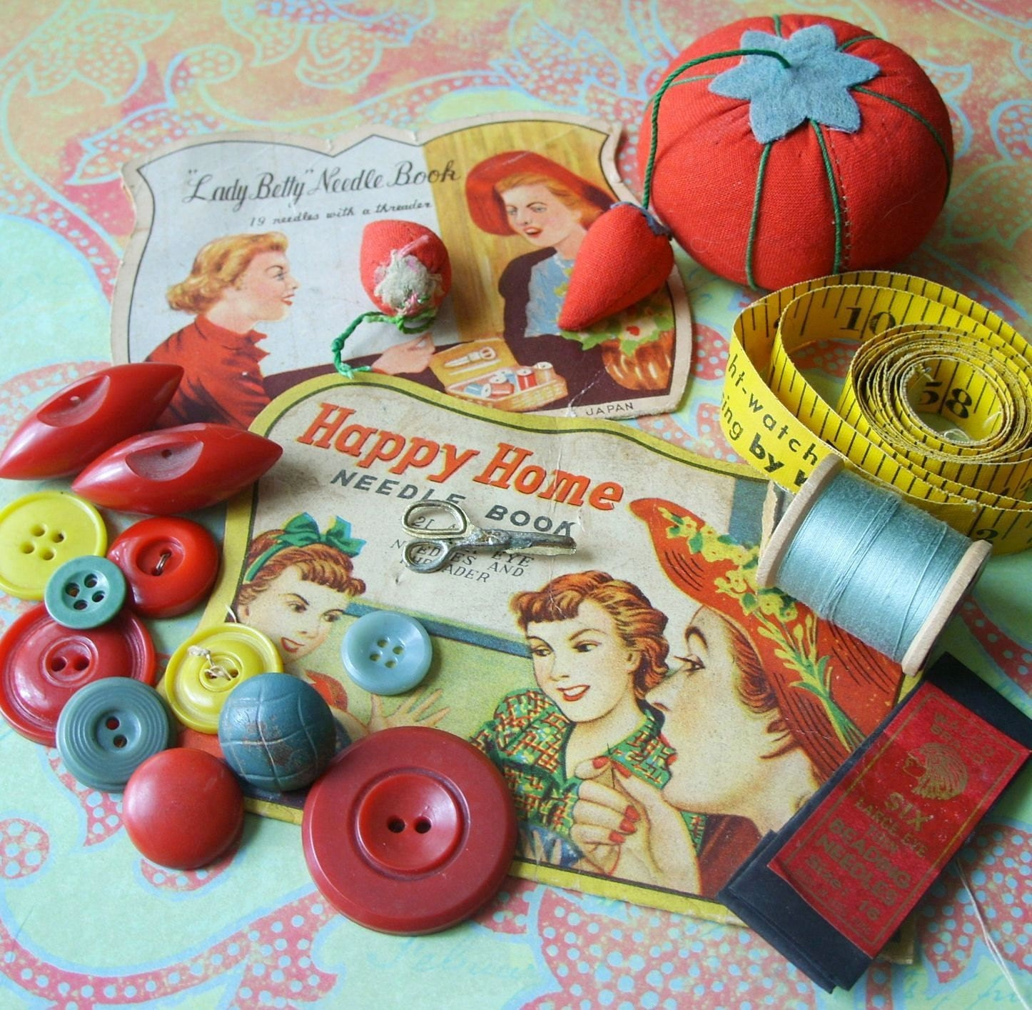Book Cover Sewing Kits ~ Sale vintage sewing kit needle books bakelite by