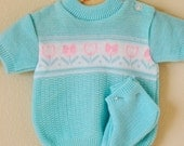 Vintage Baby Blue Tulip Sweater and Booties (0-6 m)