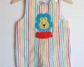 RESERVED...Vintage Toddler Rainbow Striped LION Romper (18m)