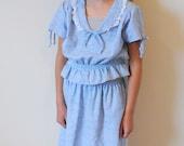 Vintage Girl 1970's Top and Skirt / METALLIC BOHO (size 10/12)
