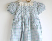 Vintage 1940's Baby Girl Dress - PLAID and EYELET Lace Collar (12m)