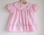Vintage Baby Girl Dress - Pink with FLOWER BOW Scallop Collar (9m) - HartandSew