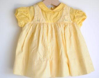 Vintage 1950's Baby Girl Dress - Yellow STRIPES Peter Pan Collar (3m)