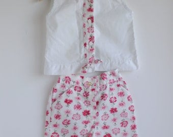 Vintage 1960's Toddler Girl Sleeveless Top and Shorts Set - Pink FLORAL (3T)