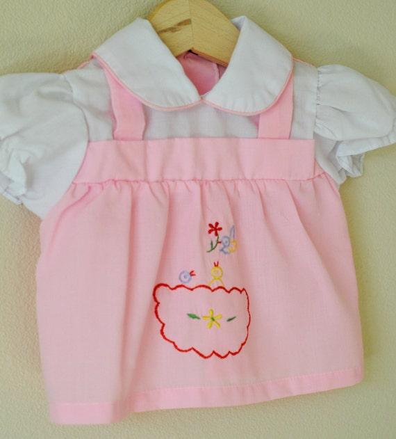 Vintage Baby Girl Dress / PINK BIRD NEST (0-6 m)