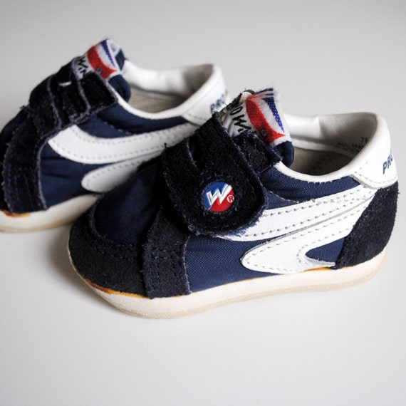 Vintage Baby Navy Blue Velcro Sneakers (size 2)