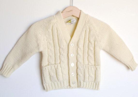 Vintage Cream Cable Knit Cardigan (12-18 m)