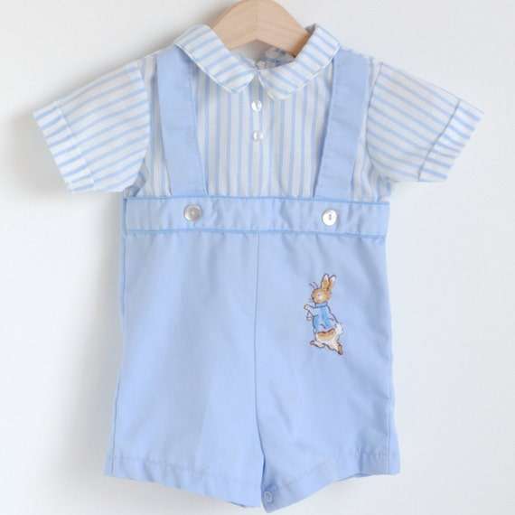 Vintage Baby Blue PETER RABBIT Romper 12m