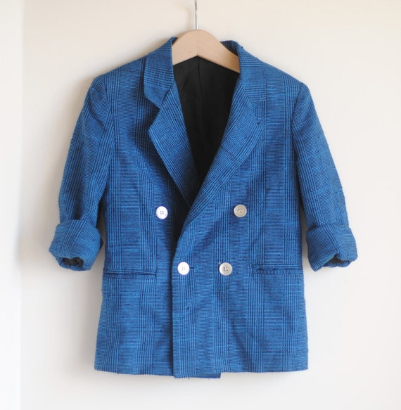 Vintage Little Boy 80's Blazer - Blue and Black (size 5)