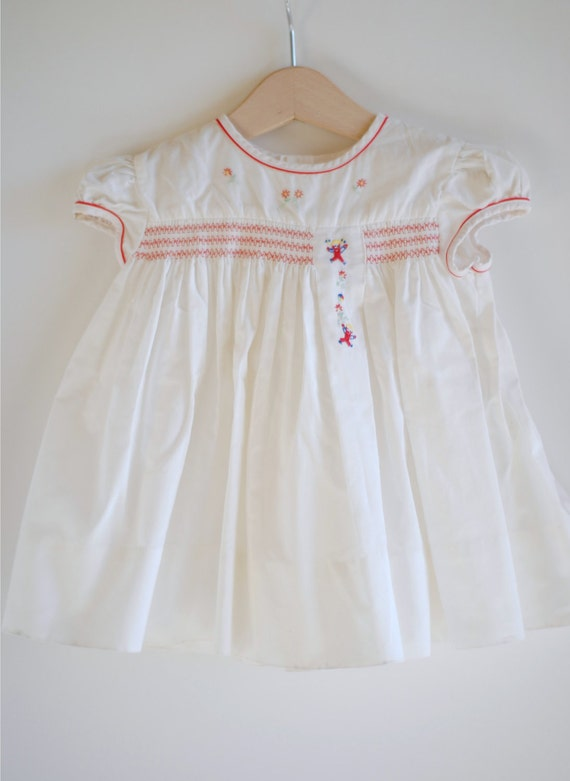 Vintage 1950's Baby Girl Dress - White with Red Smocking (9m)