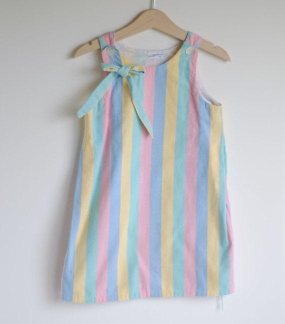 Vintage 1960's Toddler Girl Jumper Dress - CANDY Colored Stripes (4T)