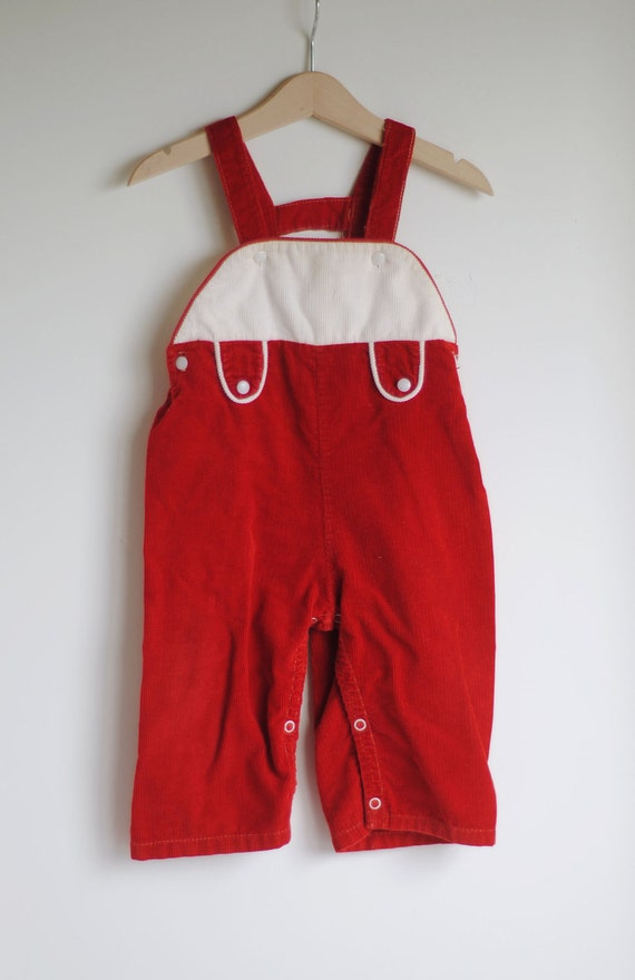 Vintage 1950's Toddler Boy or Girl Overalls - Red White Corduroy (18m to 2T)