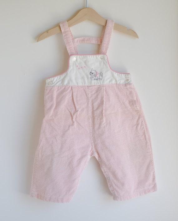 Vintage 1950's Baby Girl Overalls - Pink Polka Dot LAMB (9m)