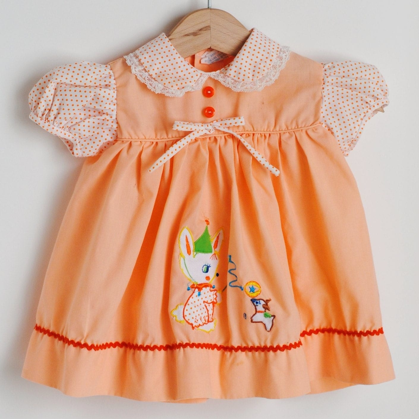 Vintage Baby Peach Circus Dress 6 To 9m