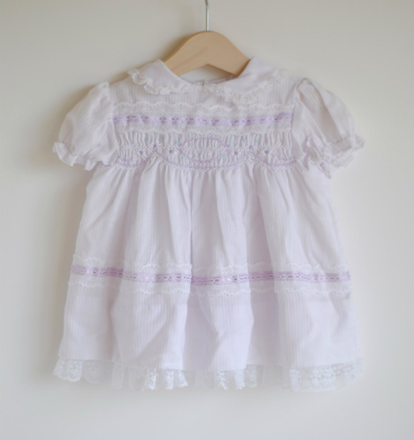 Vintage Baby Girl Dress Purple Smocked 12m