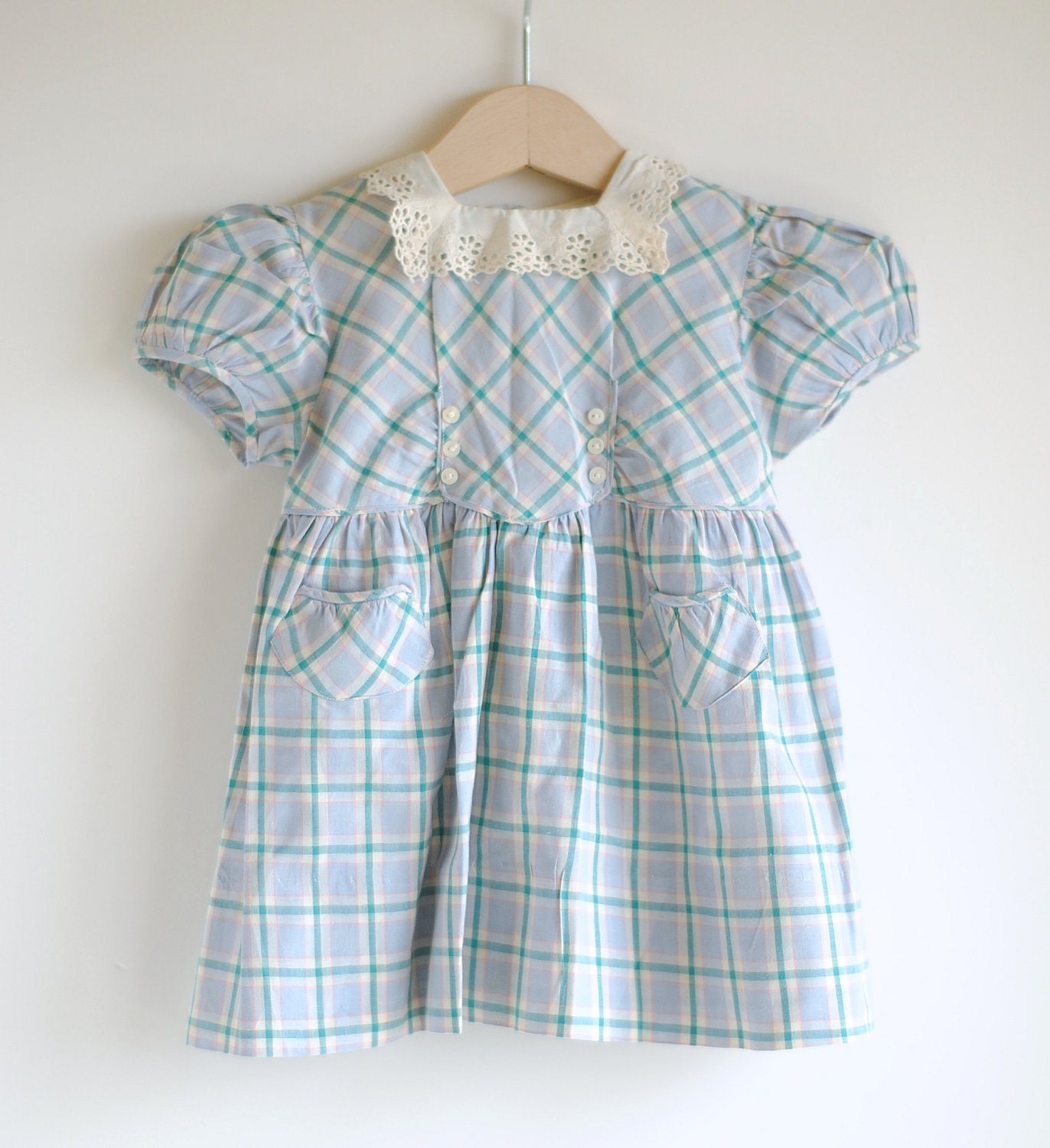 Vintage 1940 s Baby Girl Dress PLAID and EYELET Lace