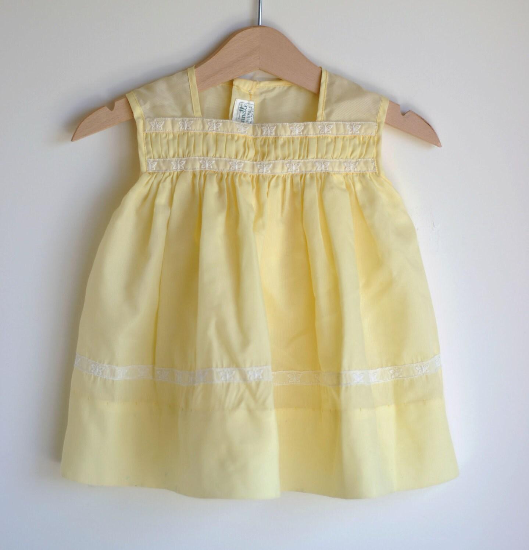 Vintage 1950's Baby Girl Dress Yellow BUTTERFLIES Sheer