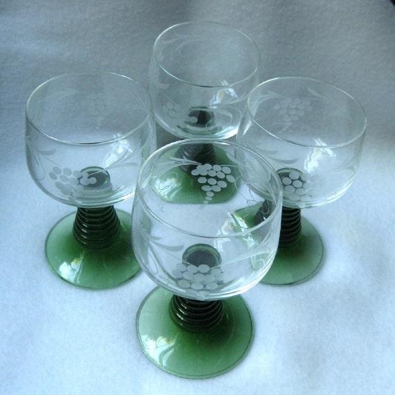 Roemer Wine Glasses Green Stemmed Vintage By Coconutroad