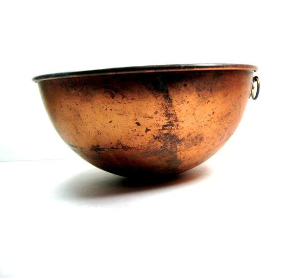 Copper Brass Bowl: 1960s Rusty Chippy Primitive Vintage