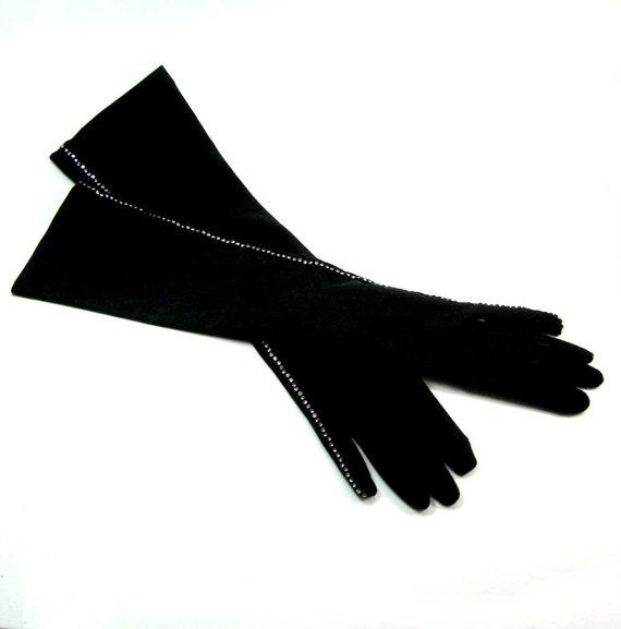 Black Rhinestone Gloves Elbow Length Vintage 1970s