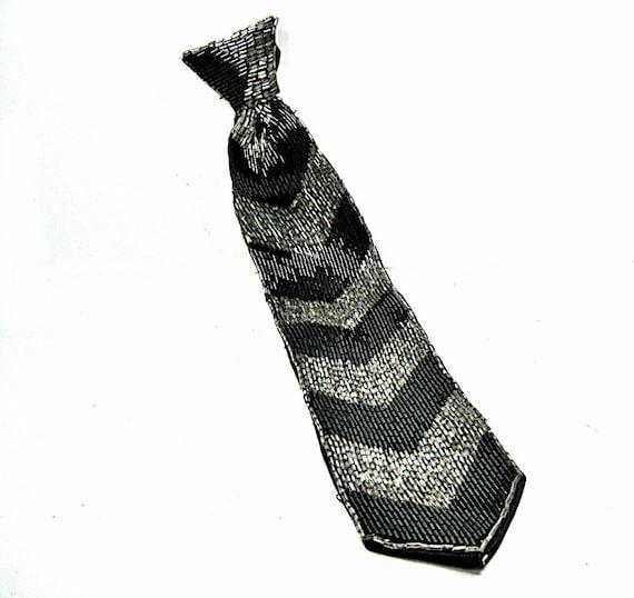 Beaded Women's Tie Black Gray 1980s Vintage