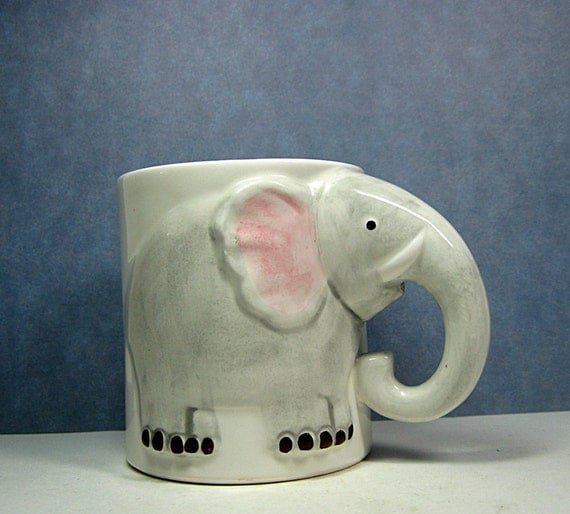 Elephant Mug Head & Trunk Handle Enesco Pottery 1970s Vintage