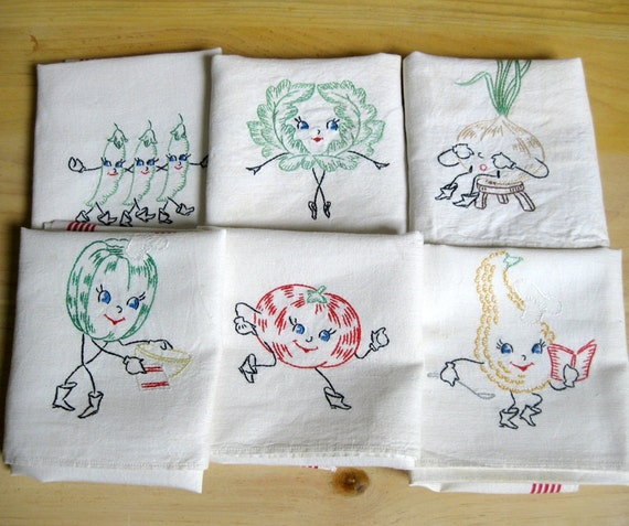Embroidered Dish Towels Anthromorphic Vegetables By