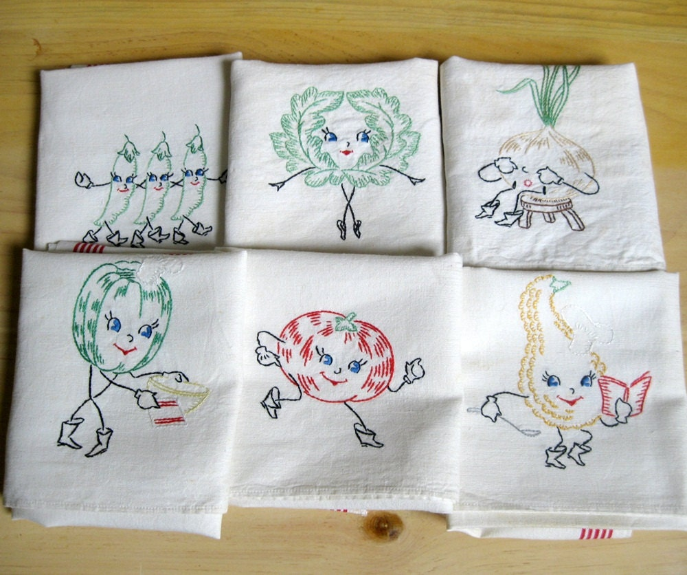 Embroidered Dish Towels Anthromorphic Vegetables By Coconutroad
