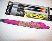 Pilot G2 Retractable, Beaded Pen. PINK ORANGE LIME its a pen