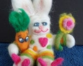 OOAK Collectible Whimsical  Bunny Rabbit Wool Needle Felted Easter Spring Gift Poseable artist Jan Taylor