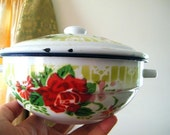 Charming vintage chabby chic red rose print enamel bowl with lid