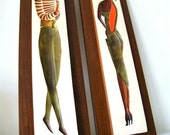Reserverd for Jeri - Mid Century Devonware - hand painted set of 2 chalkware vintage stunning MODERN fashion  MAN and WOMAN wallhangings