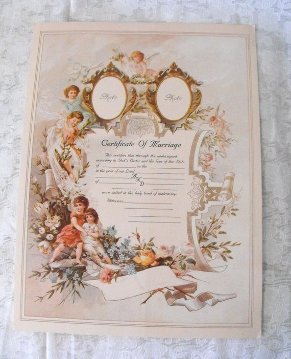 Vintage Reproduction Victorian Certificate Of Marriage Print