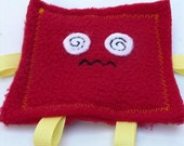 Small Red Fleece Square Sensory Crinkle Toy for Baby