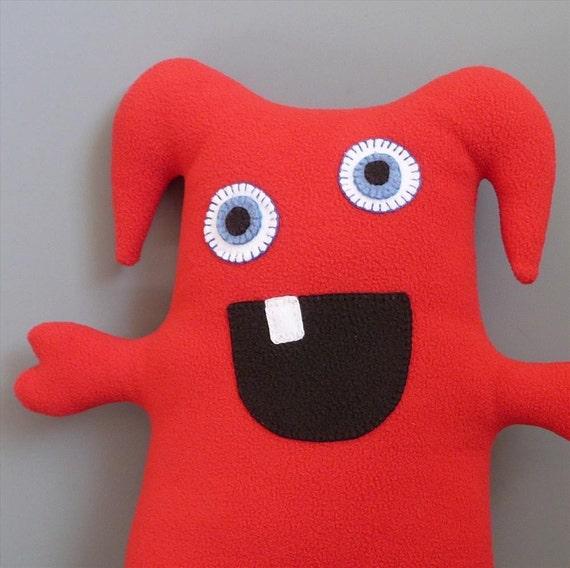 Snuggle Monster - Amiya (Red Antipill Fleece Stuffed Animal)