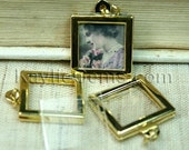 Picture Frame Charm Pendant Earring Double Sided Rectangle Square 17x17mm - Gold Plated - 2 Sets