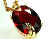 Oval 18x13mm Faceted Glass Gem Jewel Gold Fancy Setting Pendant - Wine Red