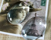 Premium Calibrated Clear Glass Cabochon Oval 18x25mm Flat Back Dome Top Hand Cut - BV18 - 1pc