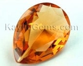 1pc Glass Jewel 18x25mm Tear Drop Faceted Diamond Cut Pointed Back Unfoiled - Imperial Topaz BX05
